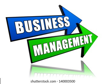 business management - text in 3d arrows, business success concept