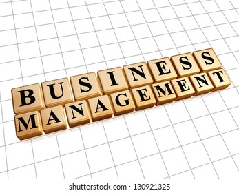business management - text in 3d golden cubes with black letters, business concept