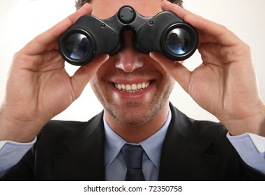 Business Mann with binoculars
