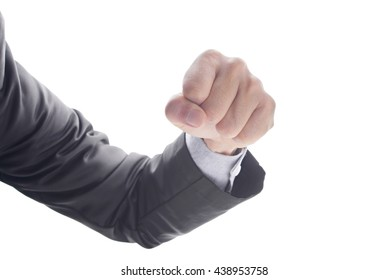 Business man's hand hold fist and punch, isolated on white background, business concept in fight or strength.