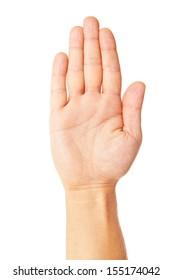 mâna omului de afaceri face simbol stop izolat pe alb