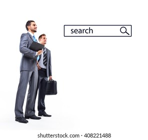 business mans looking at search line