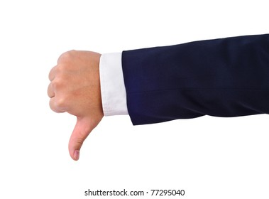 Business man's thumb down hand sign isolated on white