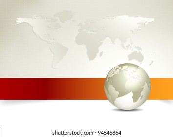 Business map - world map, globe - abstract background design with banner - elegant business brochure design