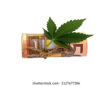 Business with marijuana concept, fifty euro banknote with marijuana leaf isolated on white background