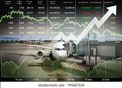 Business marketing data with arrow up show profit and success in travel business investment on index and graph of stock market data background.