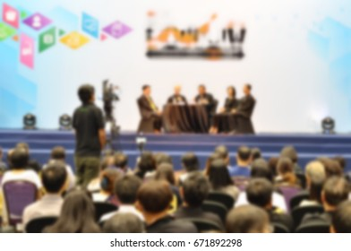 Business meeting and audience in the conference hall blur background, business conference concept.