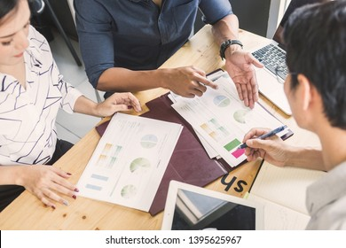 Business meeting concept; Business people and staff meeting in office to briefing strategy information of corporate; Strategy Department in corporate brainstorming at meeting room