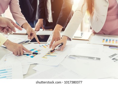 Business meeting and conference concept. Business people discussion on work in office room with paperwork. Picture for add text message. Backdrop for design art work.
