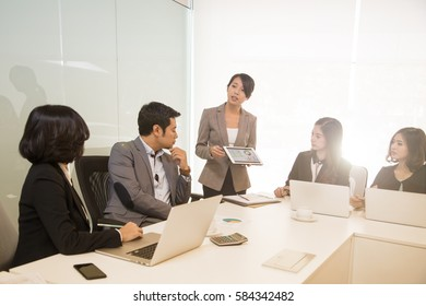 Business meeting group for discuss project in the office. Start up businessman.