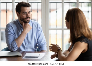 Business meeting, job interview and staffing hiring process, applicant and HR manager, mentor gives instructions to new employee, customer and company representative communication in office concept
