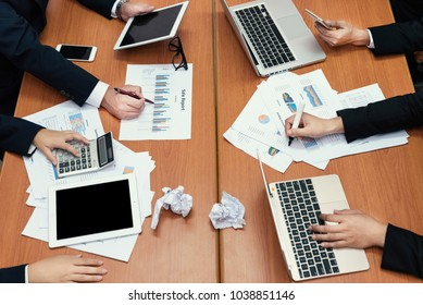 Business meeting office. documents account managers crew working with new startup project Idea presentation, analyze marketing plans
