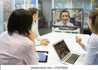 Business meeting in office, group Of Businesspeople In video conference