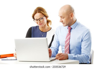 Business meeting at office. Business woman and businessman working at laptop isolated on white background.