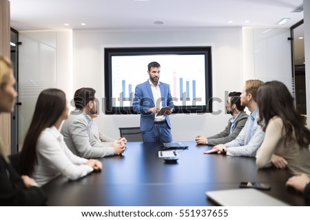 business meeting presentation modern conference room stock photo
