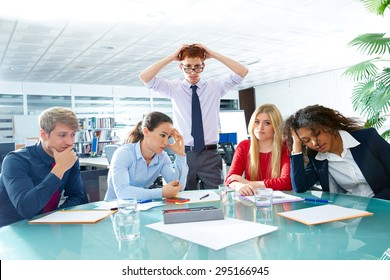 business meeting sad expression bad negative gesture young teamwork
