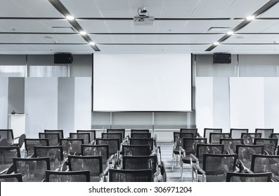 Business meeting Seminar room empty Seats with Blank Mock up white board