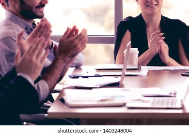 Business meeting, Strategic planing, Teamwork. Business people Clapping hands Congratulation to success  organization. Team winning, achieve target, celebrate to business winner.