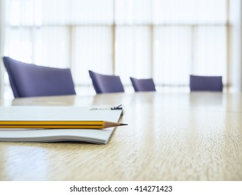 Business meeting Table with Seats Book and Pencil Board room Interior