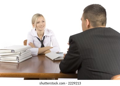 business meeting at the wood table