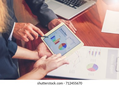 Business meetings, documents, sales analysis, Analysis results , Teamwork Management on the desk work in office