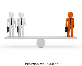 business men with briefcase orange balance seesaw