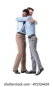 business men happy embracing
