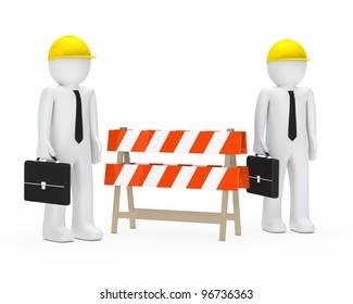 business men with helmet stand behind barrier