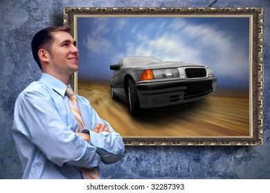 Business men look on picture with car on the grunge background