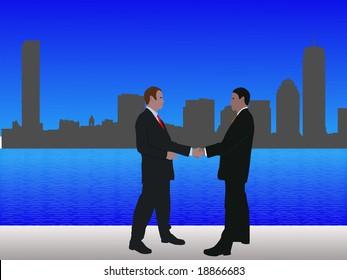 business men meeting with handshake and Boston skyline JPG