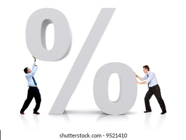 business men with a percentage sign isolated over a white background