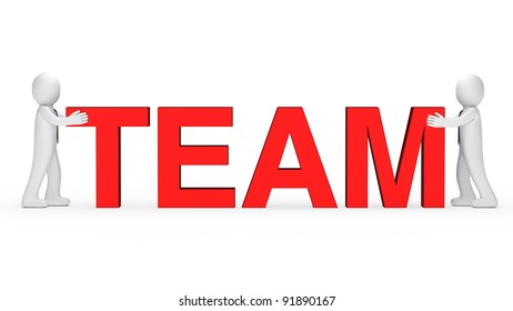 business men push red team word together