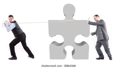 Business men and puzzle piece
