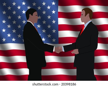 business men shaking hands with rippled American flag illustration
