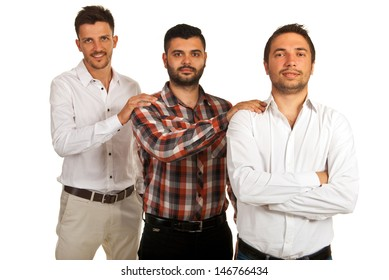 Business men support isolated on white background