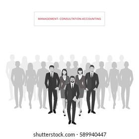 Business men and women silhouette. team business people group hold document folders. Teamwork concept.