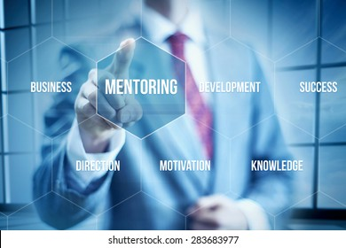 Business mentoring concept, businessman selecting interface