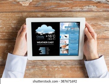 business, meteorology, people and technology concept - close up of female hands with weather cast and world news on tablet pc computer screen - Shutterstock ID 387671692