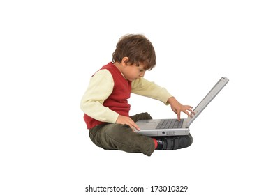 Business minded little Boy Sitting working with Laptop isolated on white background