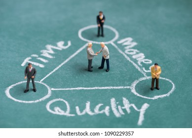 business miniature people shaking hand in balance time , quality and money diagram (TQM)