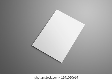 Business mockup with one blank A4, (A5) bi-fold brochure with realistic shadows isolated on gray background. The brochure is shows the backside cover. Template can be used for your design.