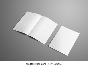 Business mockup with two A4,(A5) bi-fold brochure with realistic  shadows isolated on gray background. The first booklets is open on the spread, the second is closed and shows backside. Template can