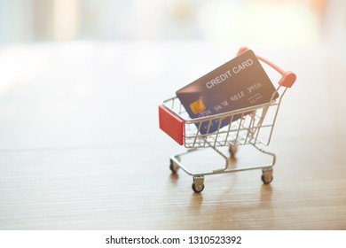 Business model Online shopping ideas with credit cards, shopping carts - Image
