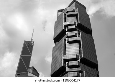 Business modern buildings in Hong Kong, black and white