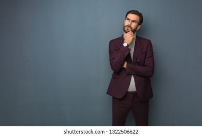 Business modern man thinking about an idea