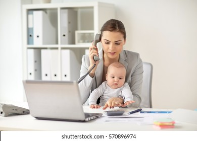 business, motherhood, multi-tasking, family and people concept - businesswoman with baby calling on phone and counting on calculator at office