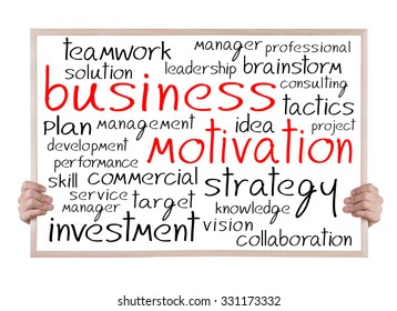 business motivation and other related words handwritten on whiteboard with hands