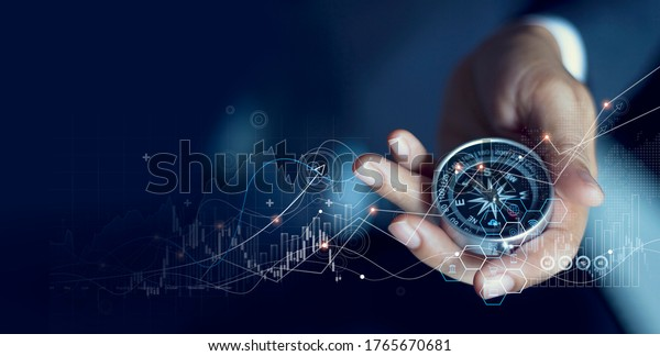 Business navigate recovery, Abstract, The compass navigate for businessmen to resume business growth in the economic crisis, Rethink, Reinvent and Recover.