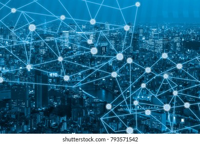 business network connection on capital city background