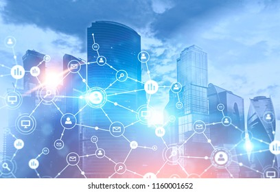 Business network icons glowing blue over cityscape background. Immersive interface and global network. Toned image double exposure mock up